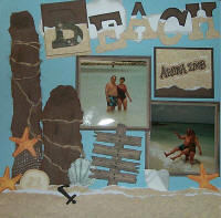 Beach Bums Scrapbook Layout with Shaker Boxes (2 Pages)